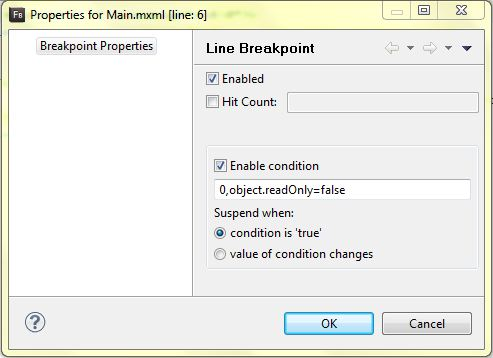 FB4 Conditional Breakpoint Dialog: Property Setting